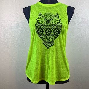 No Boundaries Neon Yellow Lime Tank Top with Owl